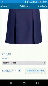 Detalle del carrito de compras en la app de eduación